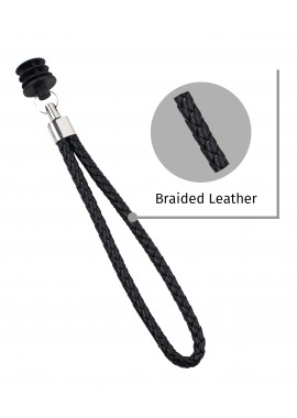 Classic Black Braided Leather Cane Strap