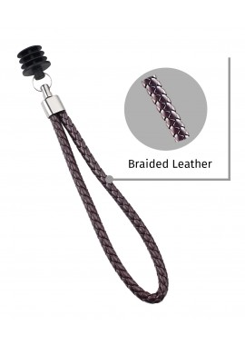 Casual Brown Braided Leather Cane Strap